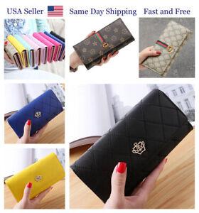Women Lady Leather Envelope Clutch Wallet Crown Zip Fashion Card Handbag Long PU