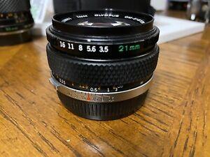 Vintage Olympus Zuiko OM 21mm f/3.5 wide angle lens EXC+++