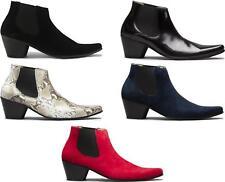 Club Cubano McCARTNEY Mens Suede/Leather Winklepicker Cuban Heel Beatle Boots