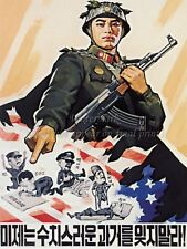 "North KOREA Anti-American Propaganda Poster On Canvas Print 8x10/"" #098"
