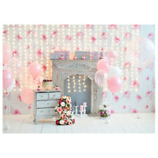 7x5ft-2.1x1.5m Pink Background for Birthday Photography Flowers 1st Birthda T2O6