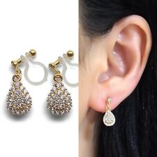 Teardrop CZ Pave Drop Invisible Clip On Earrings Cubic Zirconia Crystal Gold