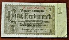 1937 OLD GERMANY 1 RENTENMARK  BANKNOTE *V* , GOOD
