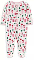NWT BABY GIRL FOOTED  1pc. PAJAMAS SIZE 0-3 MONTHS  CHRISTMAS WINTER
