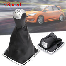 5 Speed Gear Shift Knob Stick Lever Gaiter Gaitor Boot for Ford Focus MK2 Silver