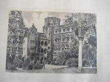 """Original Etching (1930-40's? of """"Heidelberg Castle"""" (Hof) in Heidelberg, Germany"""