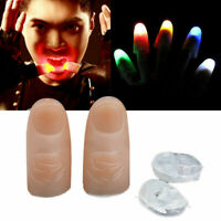 2pcs LED Magic Light Up Thumb Party Bar Props Fingers Trick Lights Prank Novel