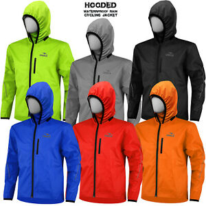 Mens Cycling Waterproof Rain Jacket Hi Visibility Running Top Hooded Coat S-XXL