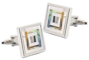 Abalone & Mother of Pearl Mosaic Mens Wedding Gift cuff links - CUFFLINKS DIRECT