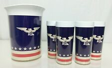 Vintage 70s Red White & Blue USA eagle 4 Thermo Serv CUPS  With PITCHER