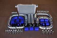 "Aluminum Intercooler 445×300×70  + 3"" 76 mm turbo pipe + Blue silicone hose"