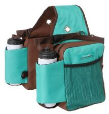Tough-1 Turquoise/brown Nylon Water Bottle / Gear Carrier Saddle Bag horse tack