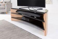 Alphason Finewoods Curve 1400 Light Oak / Black Glass TV Stand / Cabinet Max 60�€