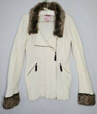 Romeo and Juliet Couture Sweater jacket Women Sz M White Knit Zip Fur Casual