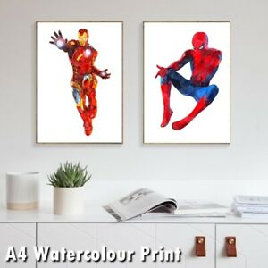 Superhero Watercolour Print Poster Avenger Spiderman Ironman Hulk Thor Batman