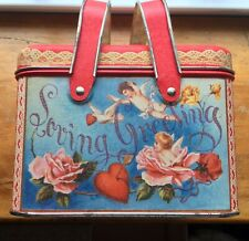St. VALENTINE Tin Basket w Lid Handles Red White Gold Vtg Litho Greetings