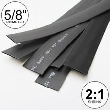 "5/8"" ID Black Heat Shrink Tube 2:1 ratio wrap (5x24"" = 10 ft) inch/feet/to 16mm"