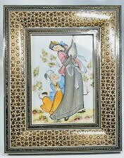 Hand-Painted Persian Man and Woman Scene on Celluloid in Mosaic Frame