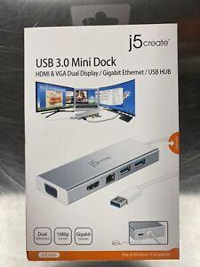 j5create USB 3.0 Mini Dock, Silver, JUD380 NEW