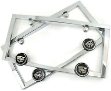 2 Qty Cadillac Chrome License Plate Frames Universal Fit