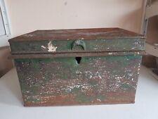 Grand ancien en métal vert argent Safe acte Boîte Document hangars organisateur de stockage