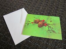 Vintage Christmas Card Unused Buzza Pine Cones Holly Green Holiday Free Ship
