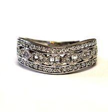 18k white gold cz wedding band estate ring vintage ladies antique womens 5.3g
