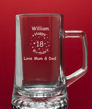 Personalised Engraved Glass Tankard-Best Man etc Any Message Engraved-Gift Boxed