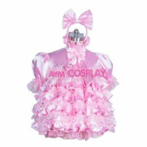 hot pink satin Sissy baby boy maid mini dress CD/TV Tailor-made
