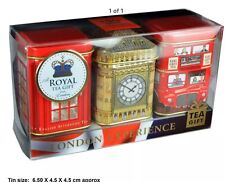 AHMAD TEA LONDON ENGLISH BREAKFAST, EARL GREY, TEA LOOSE TEA GIFT TIN SET