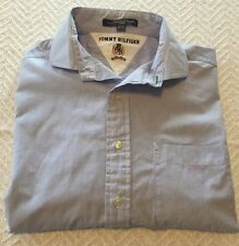 Men's Tommy Hilfiger 15 1/2; 32/33 100% Cotton Dress Shirt White & Blue Checks