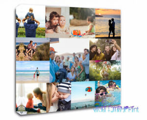 """CANVAS NO BORDER & WRAPPED 16""""X16""""  FAMILY COLLAGE PERSONALISED PHOTO BIRTHDAY"""
