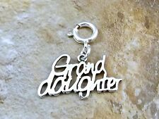 """Sterling Silver """"Grand Daughter"""" Charm fits Euro and Link Charm Bracelets - 0926"""