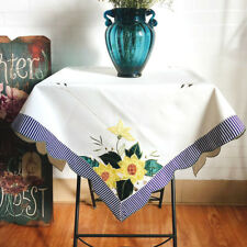 Country Style Sunflower Applique Embroidery Cutwork Stripe Border Table Cloth