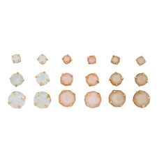 Lux Accessories goldtone White Opal Peach and Multi Earring Stud Set 9Pcs