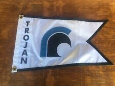 Trojan Boat Yaght Burgee, each letter and Insignia Is sewn to burgee, Appliqué