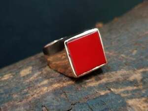 Solid 925 Silver Silver Red Coral Gemstone Rose Gold Mens Ring Size 6 to 14