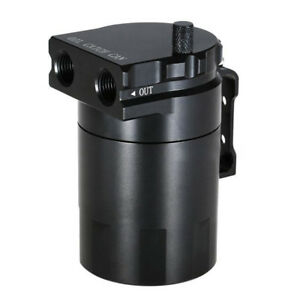 0.3L AN8/10 Black Aluminum Baffled Oil Catch Can Tank Reservoir Breather&Fitting
