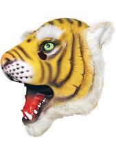 Capo completo di Gomma Lattice Animale TIGER MASK Safari Costume Halloween WILD CAT