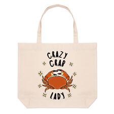 Crazy Crab Lady Stars Large Beach Tote Bag - Funny Animal Shoulder Shopper