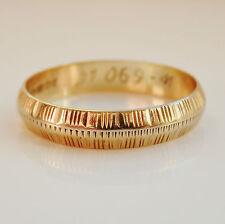 Stunning Vintage 9ct Gold Textured Wedding Ring c1987; UK Size 'O 1/2'; 2.0g