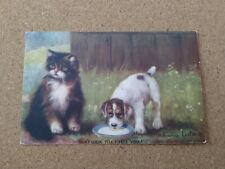Vintage Cat Dog Postcard. Kitten and puppy. Artist signed. British.