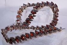 Vintage Choker Style Necklace Of Marcasite And Garnet Stones Made In Thailand