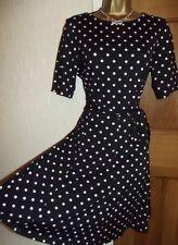 Gorgeous ❤️ Wallis £40 Polka Dot Dress Size 10 Black Beige 1950's  Swing