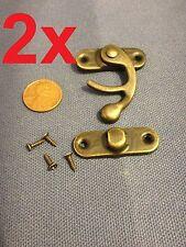 2 sets - latch hook Hinge small mini  Antique wood box Catch Decorative b14