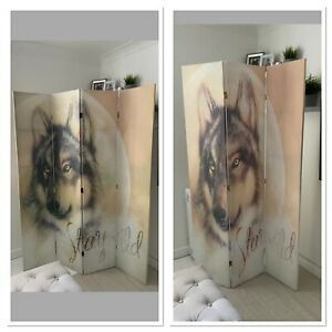 2x Canvas Wall Room Dividers Screens, 4 Pannel & 3 Pannel Wolf Print