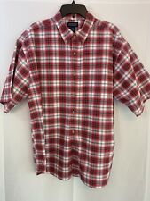 AUSTIN Clothing Company Short Sleeve Mens Shirt Red Plaid Size XXL 100% Cotton