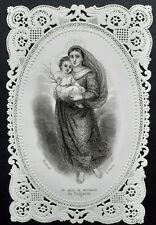 Image pieuse dentelle canivet holy card lace fin XIXè Vierge Marie Jésus