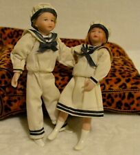 Miniature Doll Porcelain Sailor Dollhouse 1:12 Boy Girl Pair Nautical Vintage