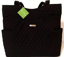 Vera Bradley PLEATED TOTE CLASSIC BLACK Microfiber Bag Purse with Silver Logo